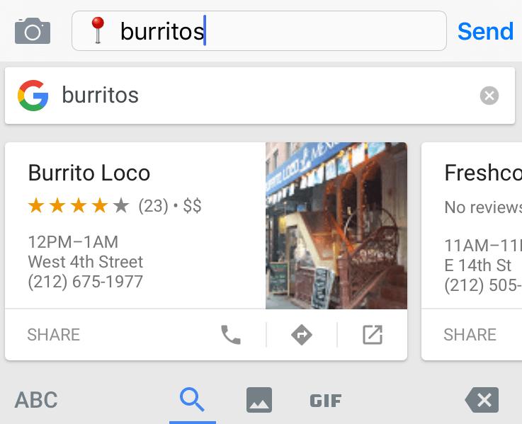 Gboard Screenshot of Burritos Search Query