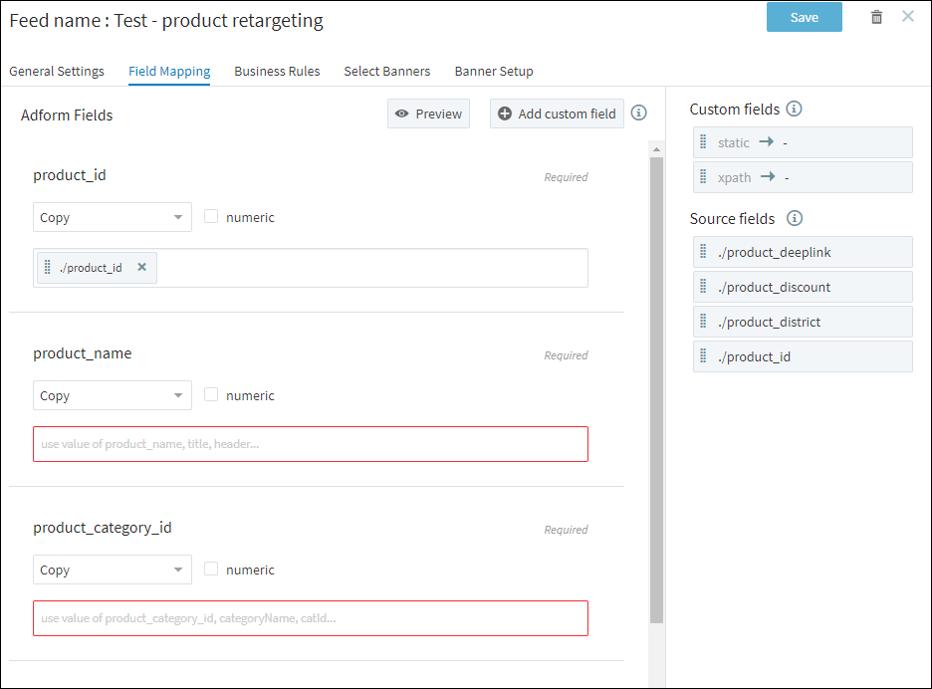 Performics - Produktový retargeting - Mapping feedu