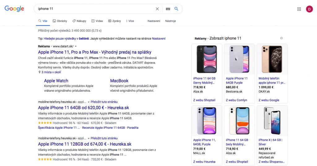 Náhľad nákupných kampaní po zadaní iphone 11 do Google vyhľadávania, kde vidíme názov produktu, cenu a značku e-shopu