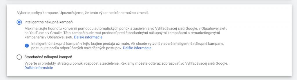 Štandardné verzus inteligentné Google nákupné kampane