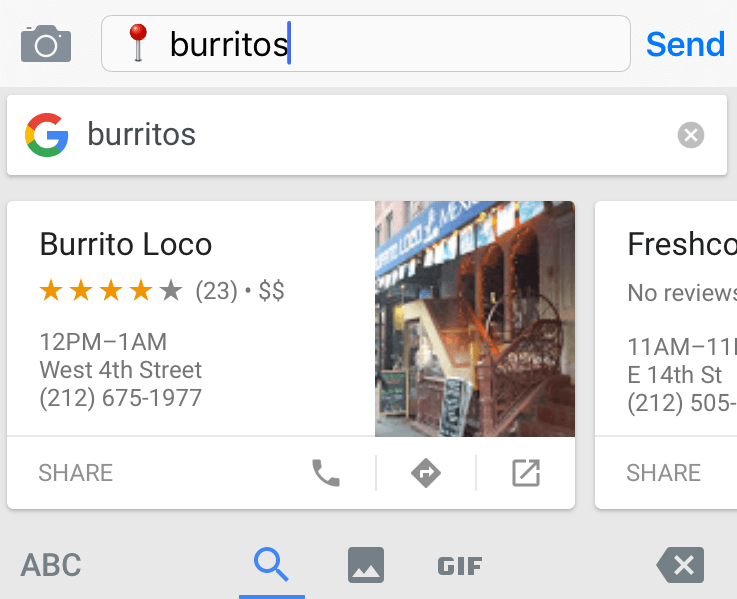 Gboard Screenshot of Burritos Search Query