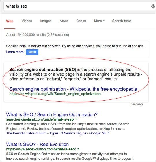 Google Quick Answers Example