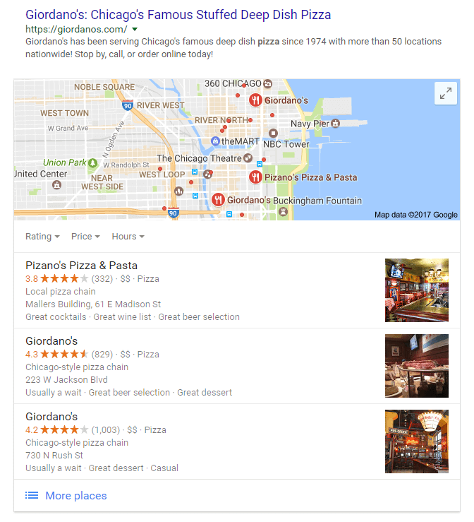 local search results for pizza in chicago il