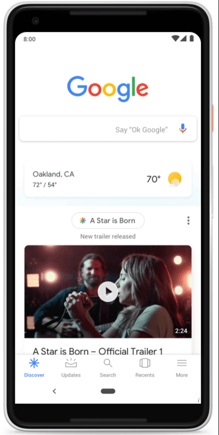 Google Discover feature home page